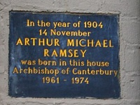 Michael Ramsey's birthplace plaque